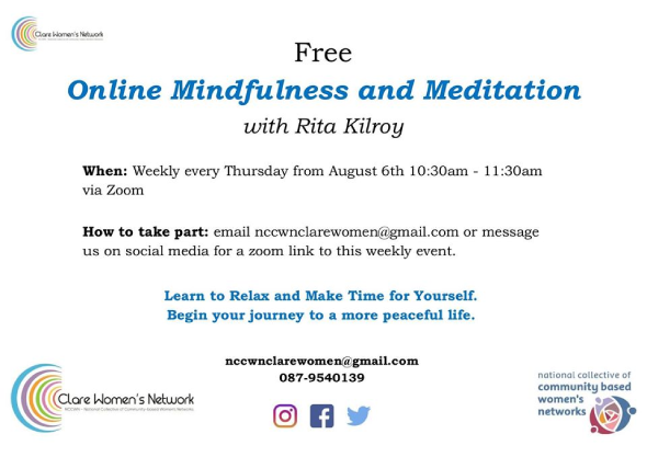 NCCWN Clare – Online weekly Mindfulness and Meditation