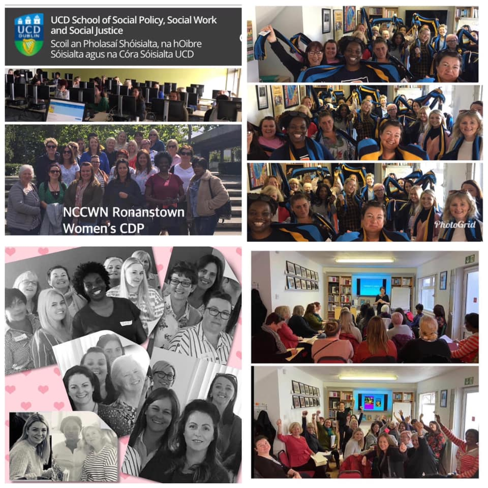 Congratulations to the 22 women from NCCWN Ronanstown Women's CDP who recently completed their Level 7 University Certificate in Women, Gender and Social Justice.   The level 7 Certificate programme 'Women, Gender and Social Justice' took part in the academic year September 2019-May 2020.  Lectures took place in our community space Ronanstown WCDP and some weekends on UCD campus. From March 2020 contact was through WhatsApp, zoom, video and email. 22 women graduating today is a testimony to the hard work the women put in under extreme Covid 19 restrictions.  Ronanstown Women's Community Development Project University Partnership with UCD School of Social Policy, Social Work and Social Justice is running since 1999.  RWCDP run the Community Outreach level 7 Certificate programme 'Women, Gender and Social Justice' in partnership with UCD. This programme is not core funded so we are dependent on available funding streams to make this a reality for our community. Students also self-fund their studies with subsided fees.  Key objectives of the project:  To make 3rd level opportunities attainable and achievable for all. Break down the barriers of access, cost and supports. Local women will achieve a University Certificate in Women, Gender and Social Justice in their own community. Provide students with the credentials and skills necessary for further academic pursuits across a range of disciplines. Expand students' communication, study, writing and analytical skills, consolidating and enhancing their intellectual confidence and strengthen and diversify students' employment opportunities. Deliver an in-depth understanding of social injustices with a view to bring about change. Facilitate students' increased participation in their communities, civil society and public life. A raising of educational expectations and achievement within the home and community. RWCDP work closely with UCD offering Tasters Programmes, Access programmes, level 7 Certificates and supporting studen