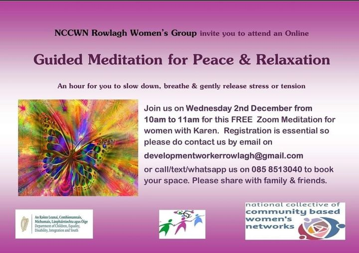 NCCWN Rowlagh Women's Group – Guided Meditation for Peace & Relaxation Workshop