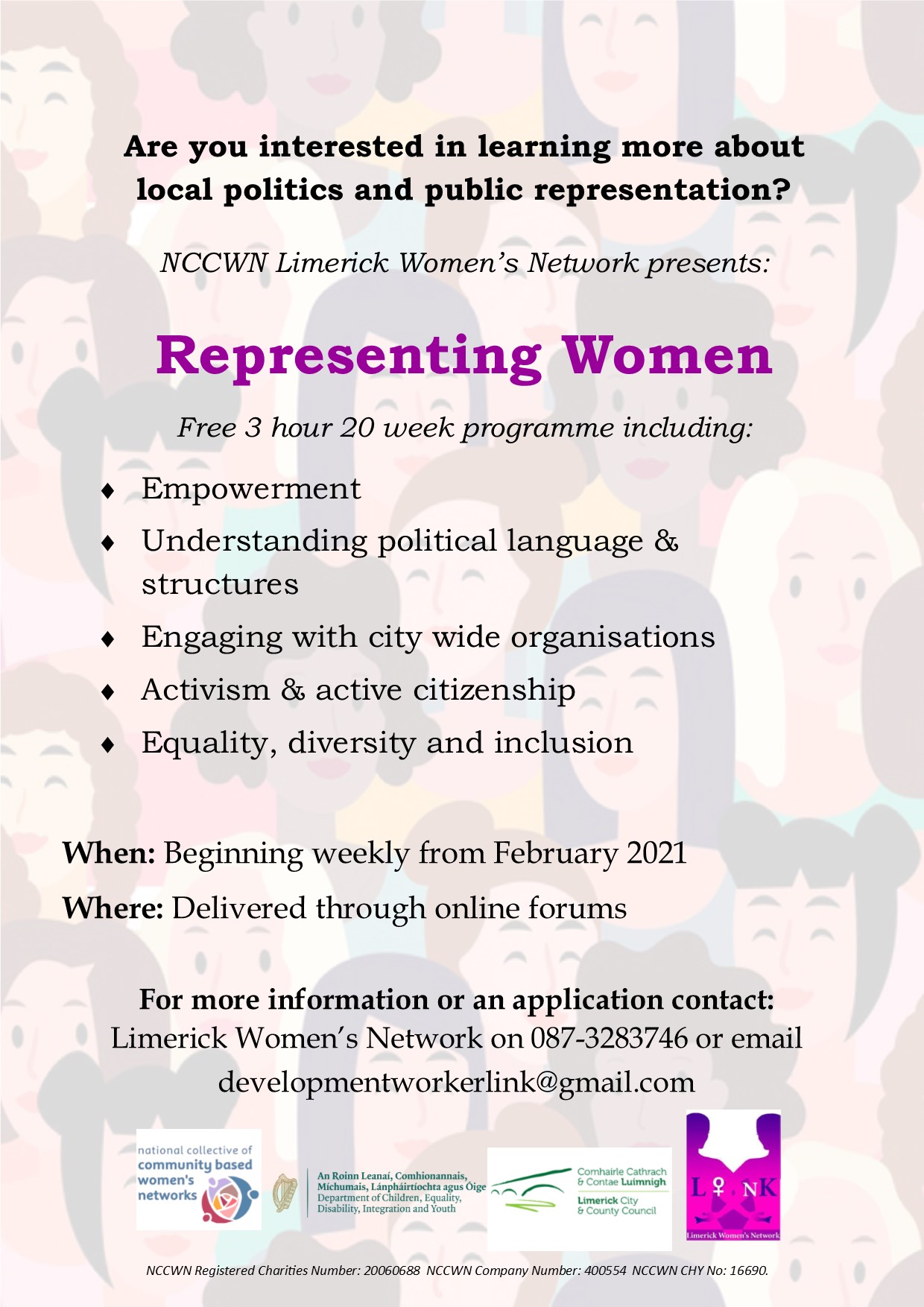 NCCWN Limerick Representing Women Poster Online programme on Local Politics and Public Representation