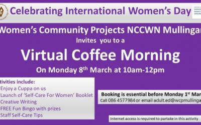 Women's Community Projects NCCWN Mullingar – International Women's Day 2021 Virtual Coffee Morning