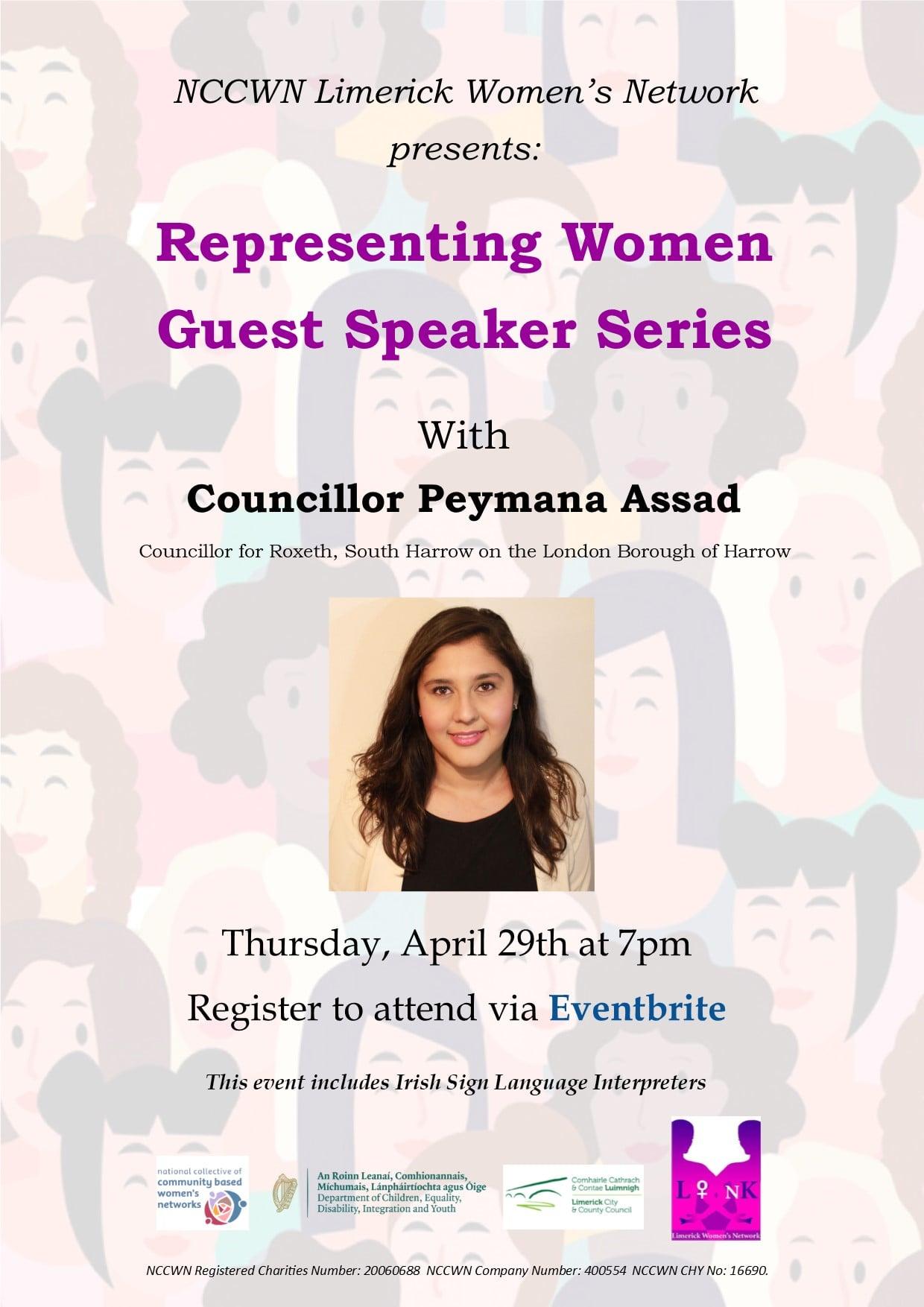 Representing Women - Guest Speaker Series. Our next webinar is with Councillor Peymana Assad