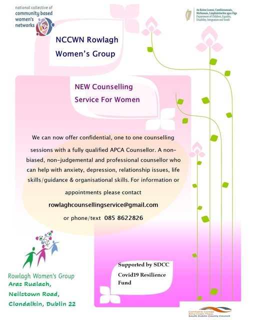 NCCWN Rowlagh Women's Group are delighted today to launch our Confidential Counselling Service for Women.