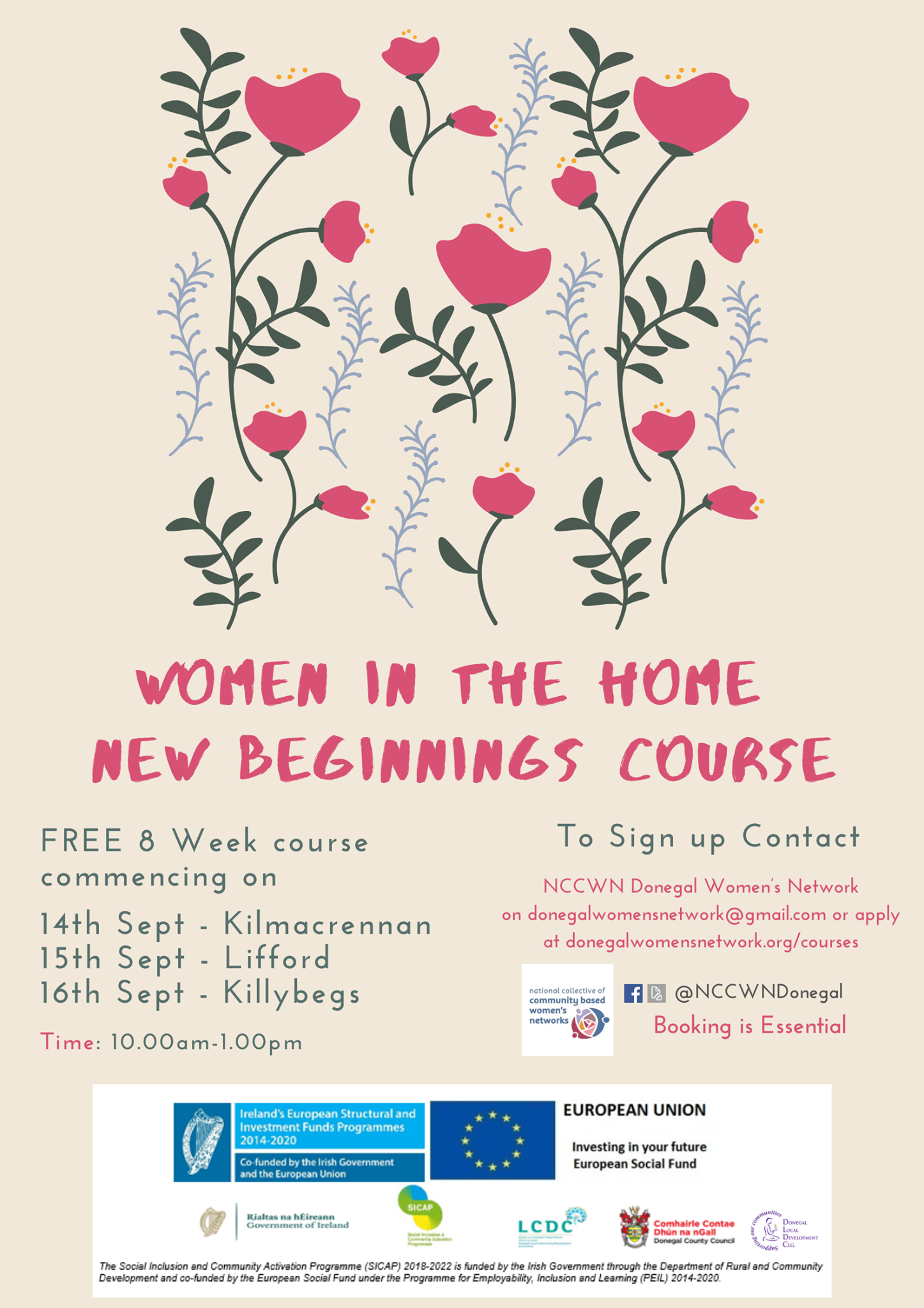 NCCWN Donegal Women in the Home, New Beginnings course